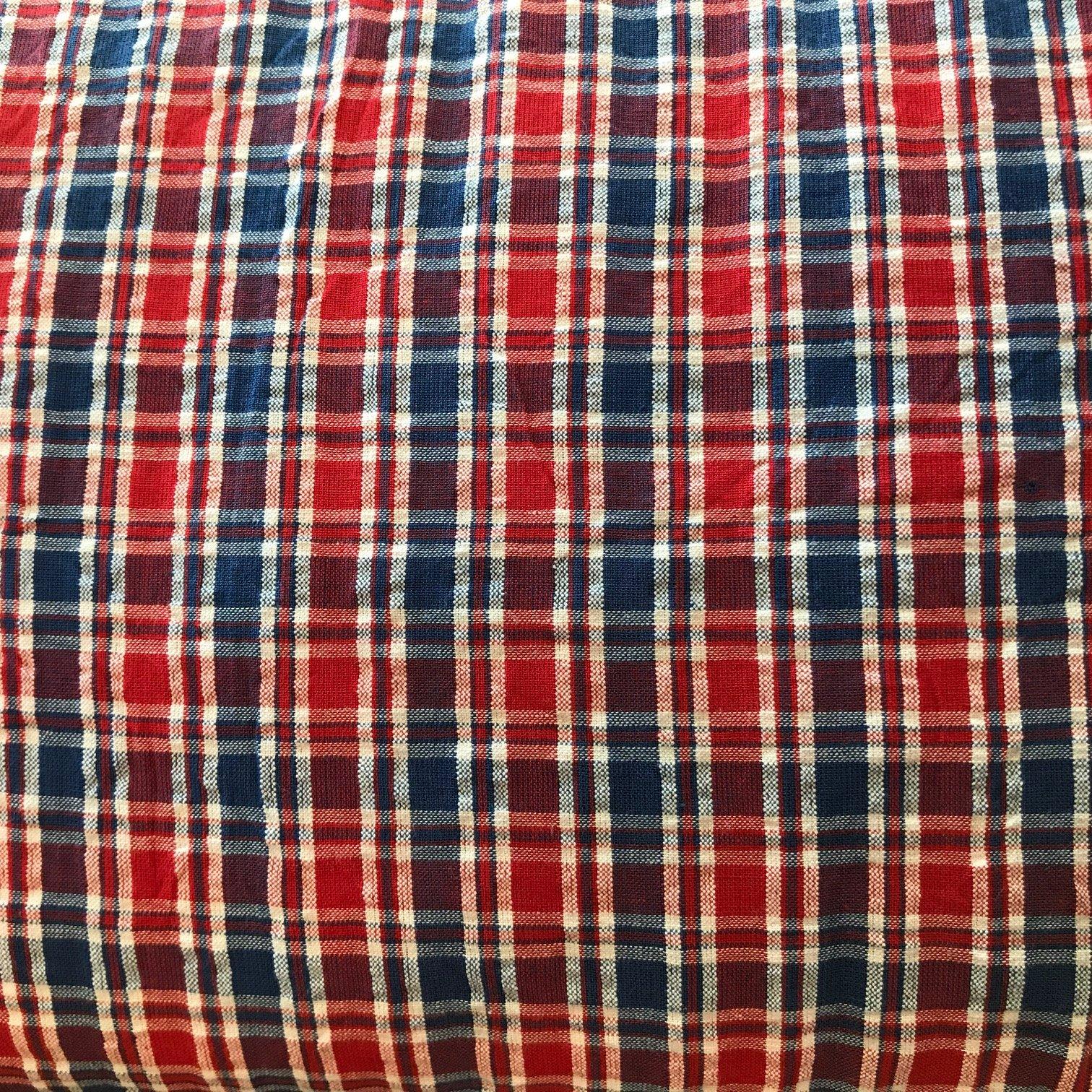 Blue and Red Plaid Seersucker 100% cotton 44 wide
