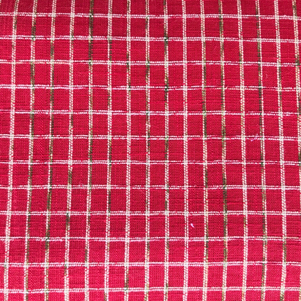 Squares Slubs Red 100%cotton textured woven 44 wide