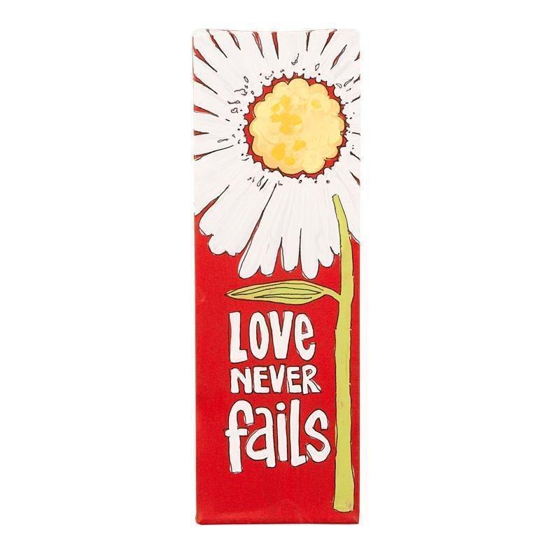 Love Never Fails canvas sign 12x4