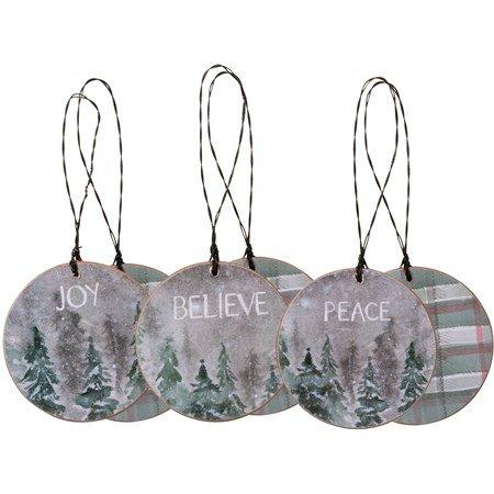Christmas Ornaments, Joy, Peace, Believe 2.25