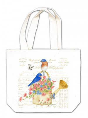 Birds on Watering Can gift tote