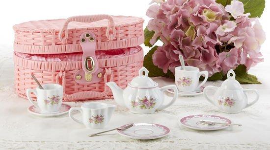 Teaset in basket Lavender & Roses porcelain