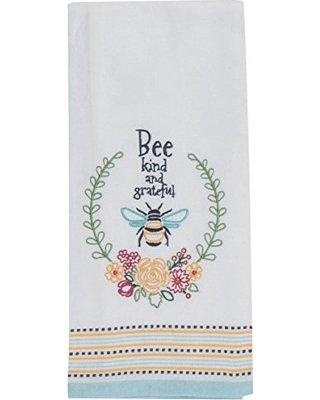 Garden Bee embroidered tea towel