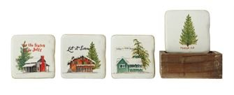 Resin Coasters in wood box 3.75 sq.
