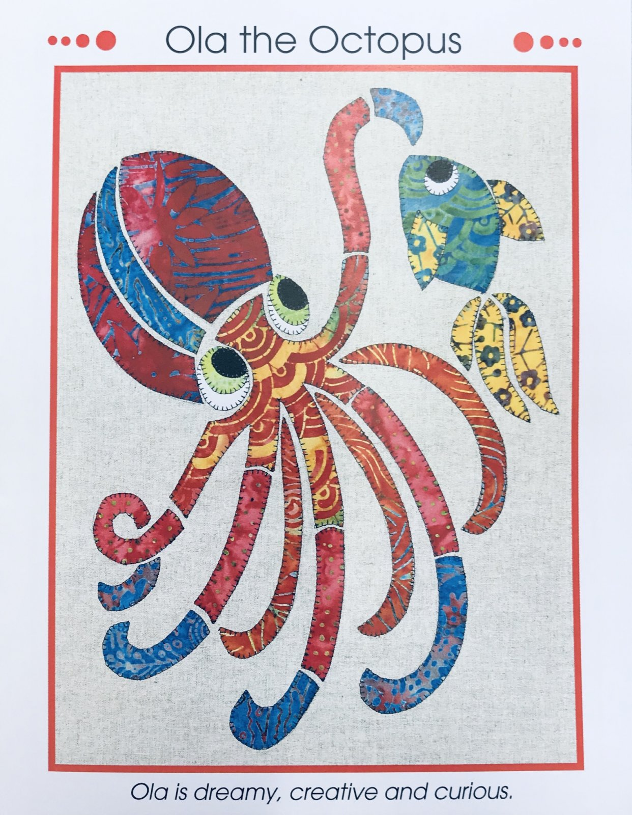 Ola the Octopus Applique Pattern