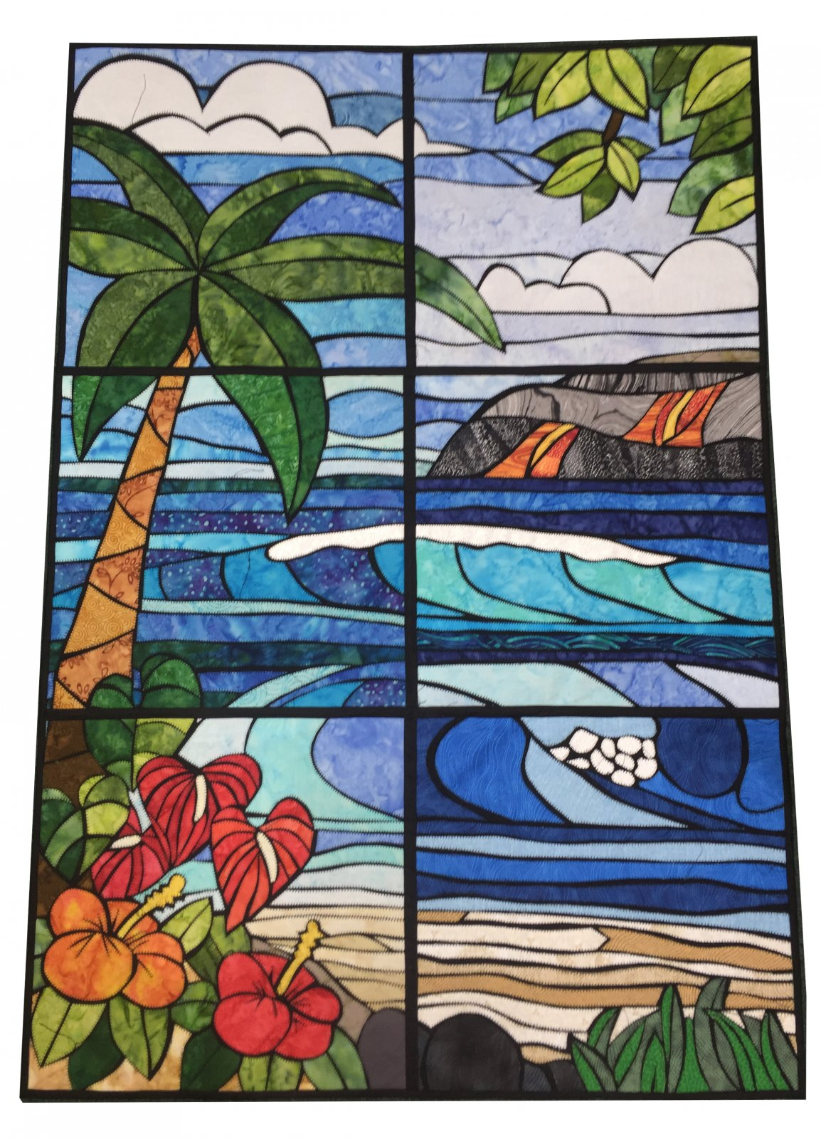 Hawaiian Tropical Stain Glass Quilt Pattern