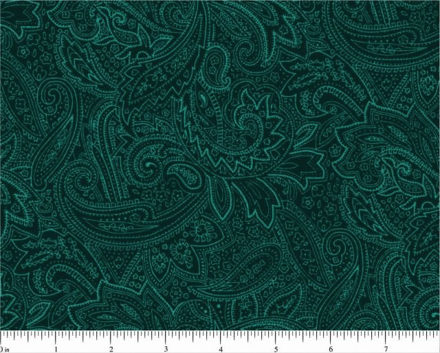 Teal Paisley Quilt Backing