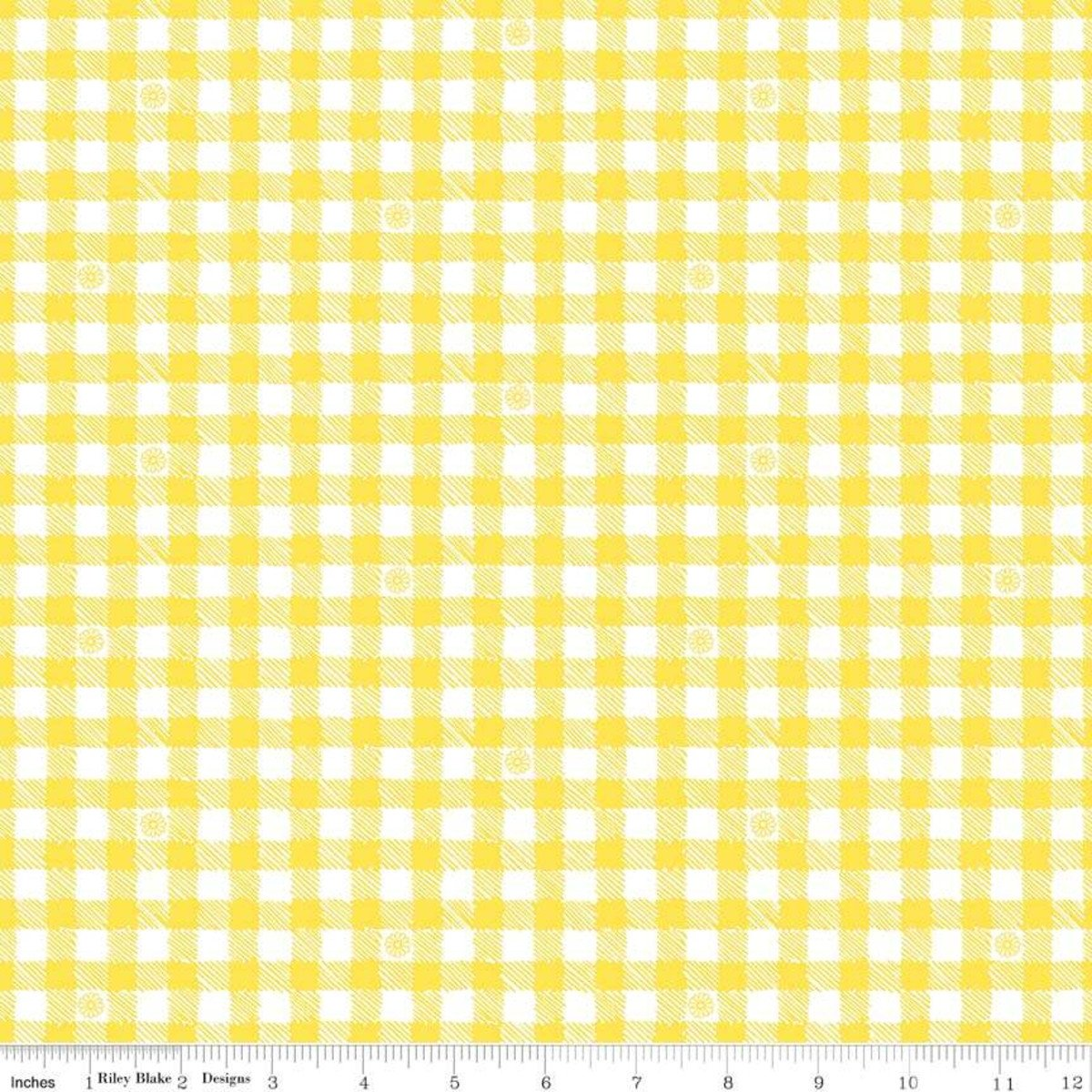 Honey Run by Jill Finley Yellow gingham with bees