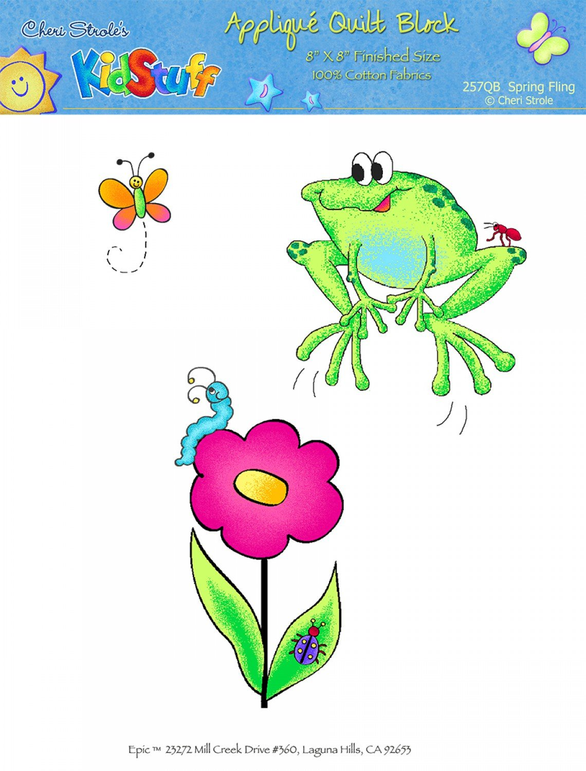 EMBROIDERED QUILT BLOCK FROG BUTTERFLY