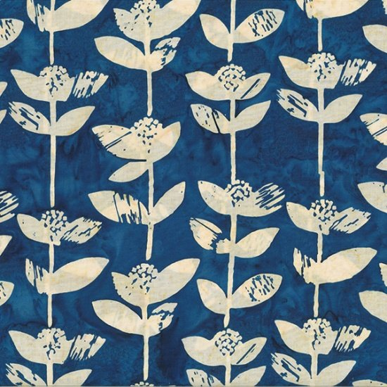 HOFFMAN BALI BATIK - BLOCK FLOWER INDIGO