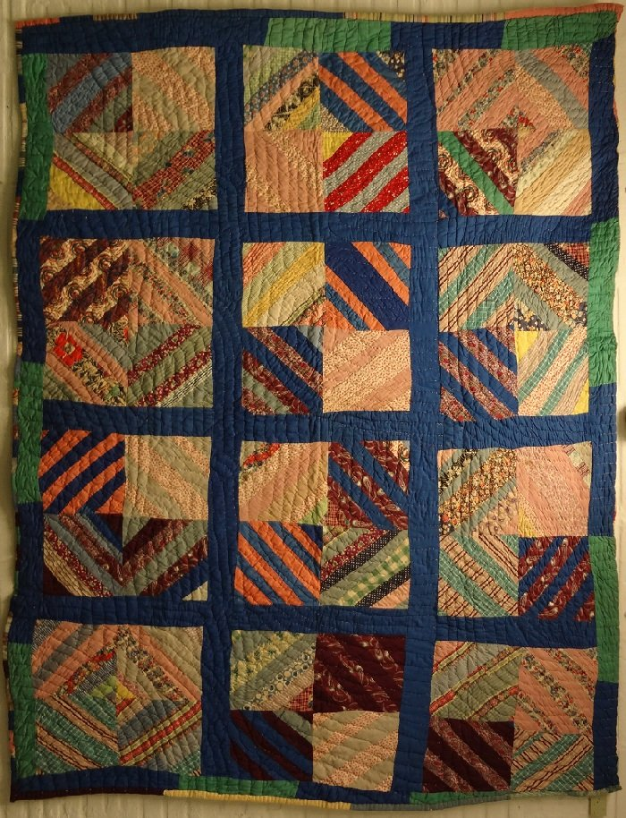 AFRICAN AMERICAN TWO SIDED STRING SQUARES AND STRIP BARS  VINTAGE QUILT