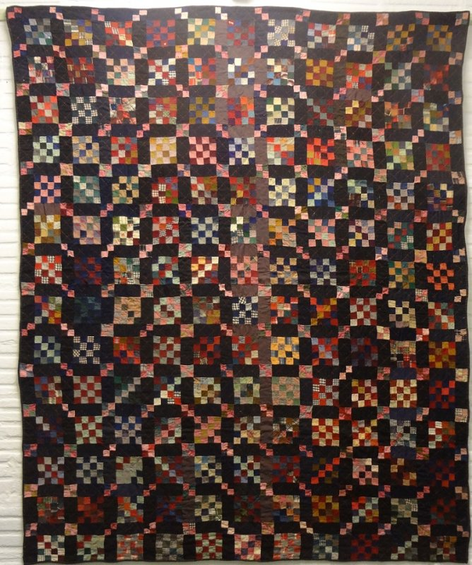SIXTEEN PATCH FOUR PATCH POSTAGE STAMP ANTIQUE QUILT