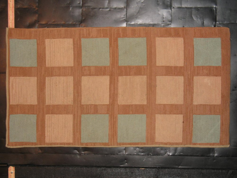 SQUARES IN GRID ANTIQUE HOOKED RUG cocoa, teal