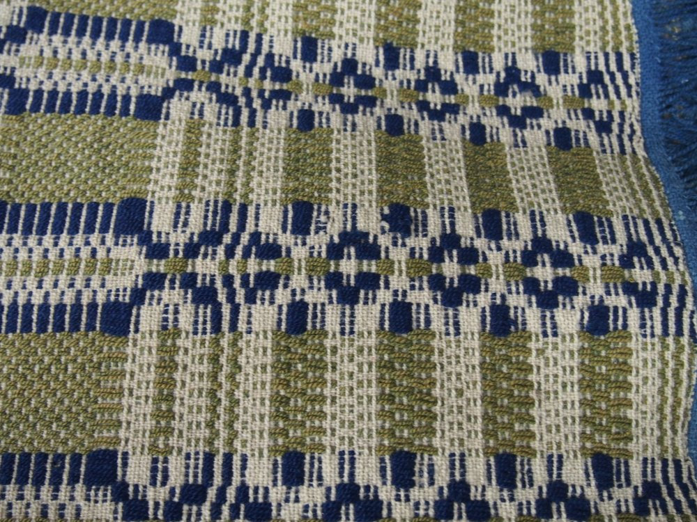 OVERSHOT ANTIQUE COVERLET complex weave indigo and olive