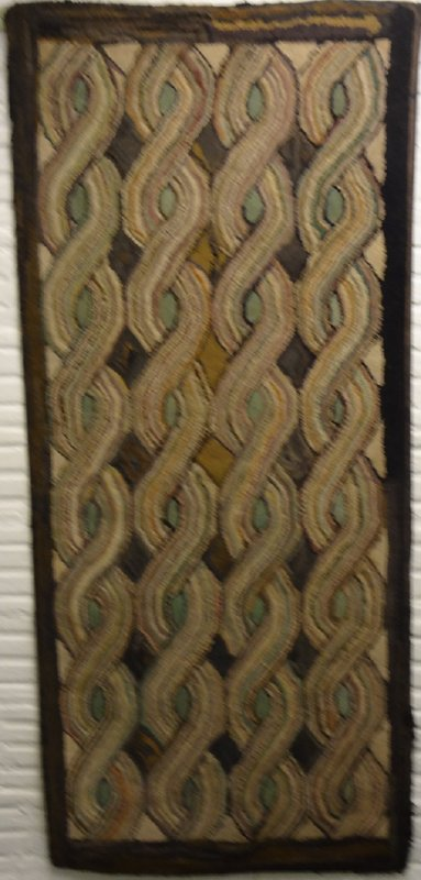 CABLE or ROPE ANTIQUE HOOKED RUG