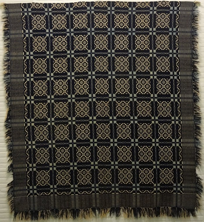 TWO BLUES AND WHTE DOUBLEWEAVE ANTIQUE GEOMETRIC COVERLET