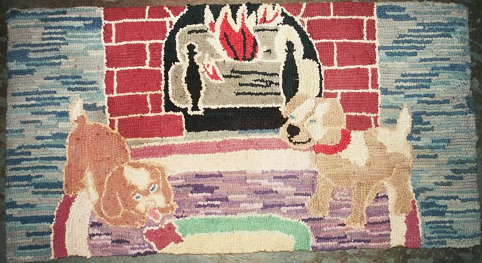 DOGS AT A HEARTH ANTIQUE HOOKED RUG