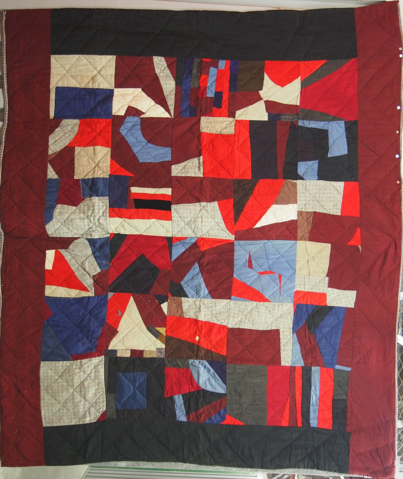 CRAZY ABSTRACT 30 BLOCK ANTIQUE  QUILT