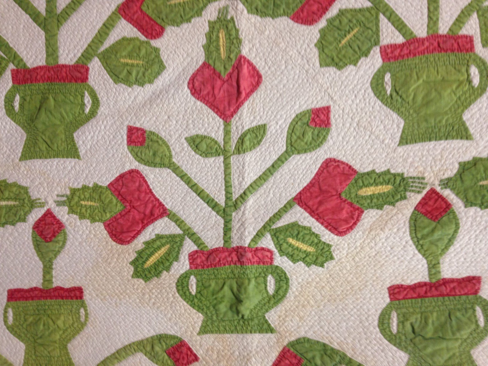 FLOWERS IN POTS ANTIQUE APPLIQUE QUILT