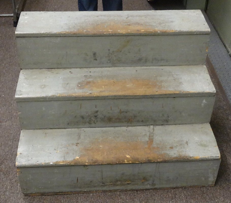 STAIRS in old blue green paint, 3 steps high