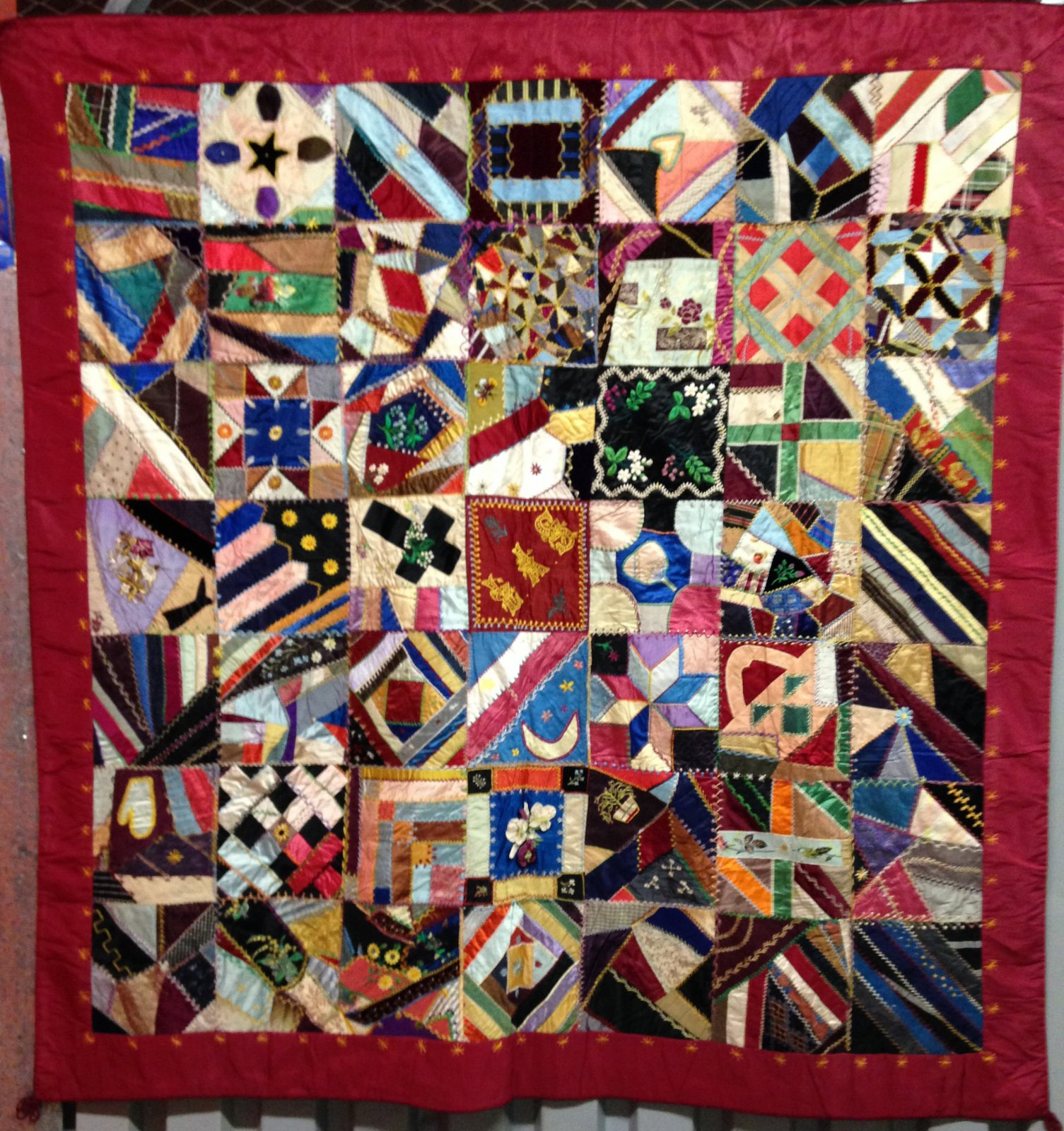 SAMPLER SILK PIECED CRAZY TYPE ANTIQUE QUILT