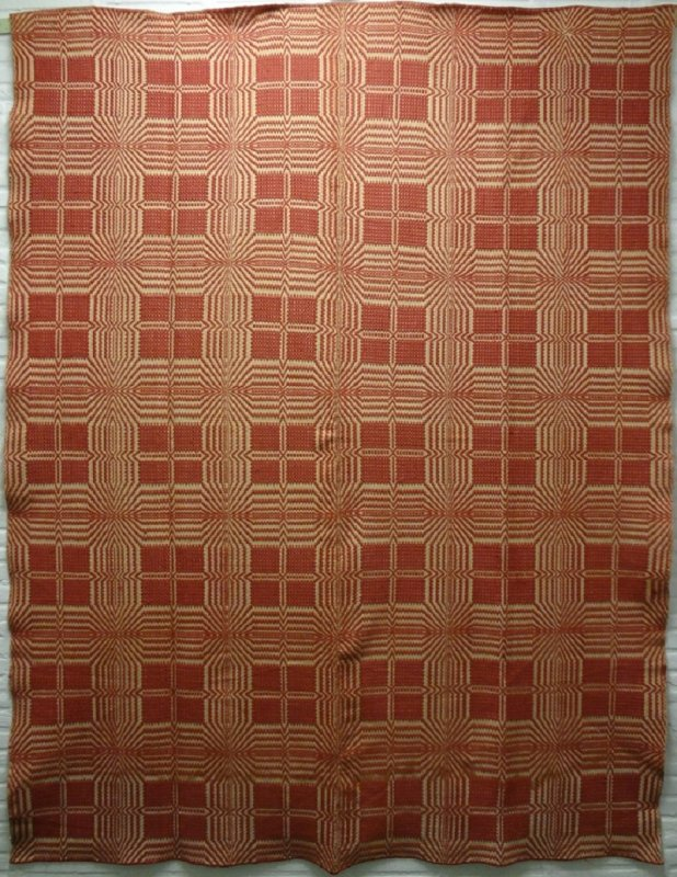 OVERSHOT ANTIQUE COVERLET Cinnamon Wool And Natural Cotton