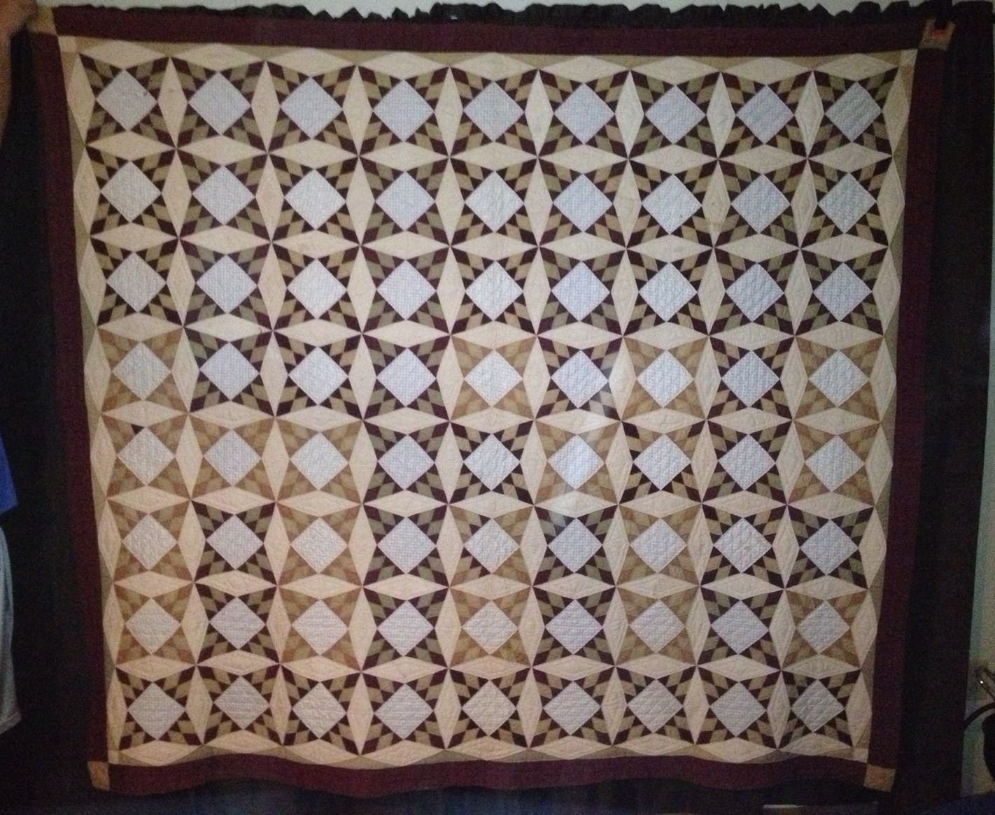 FOUR POINT VARIATION ANTIQUE PIECED QUILT, neutrals