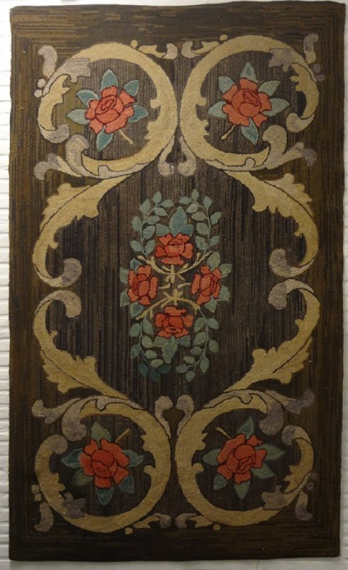 ROSES IN SCROLLS ANTIQUE HOOKED RUG