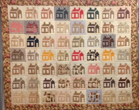 HOUSES ANTIQUE PIECED QUILT