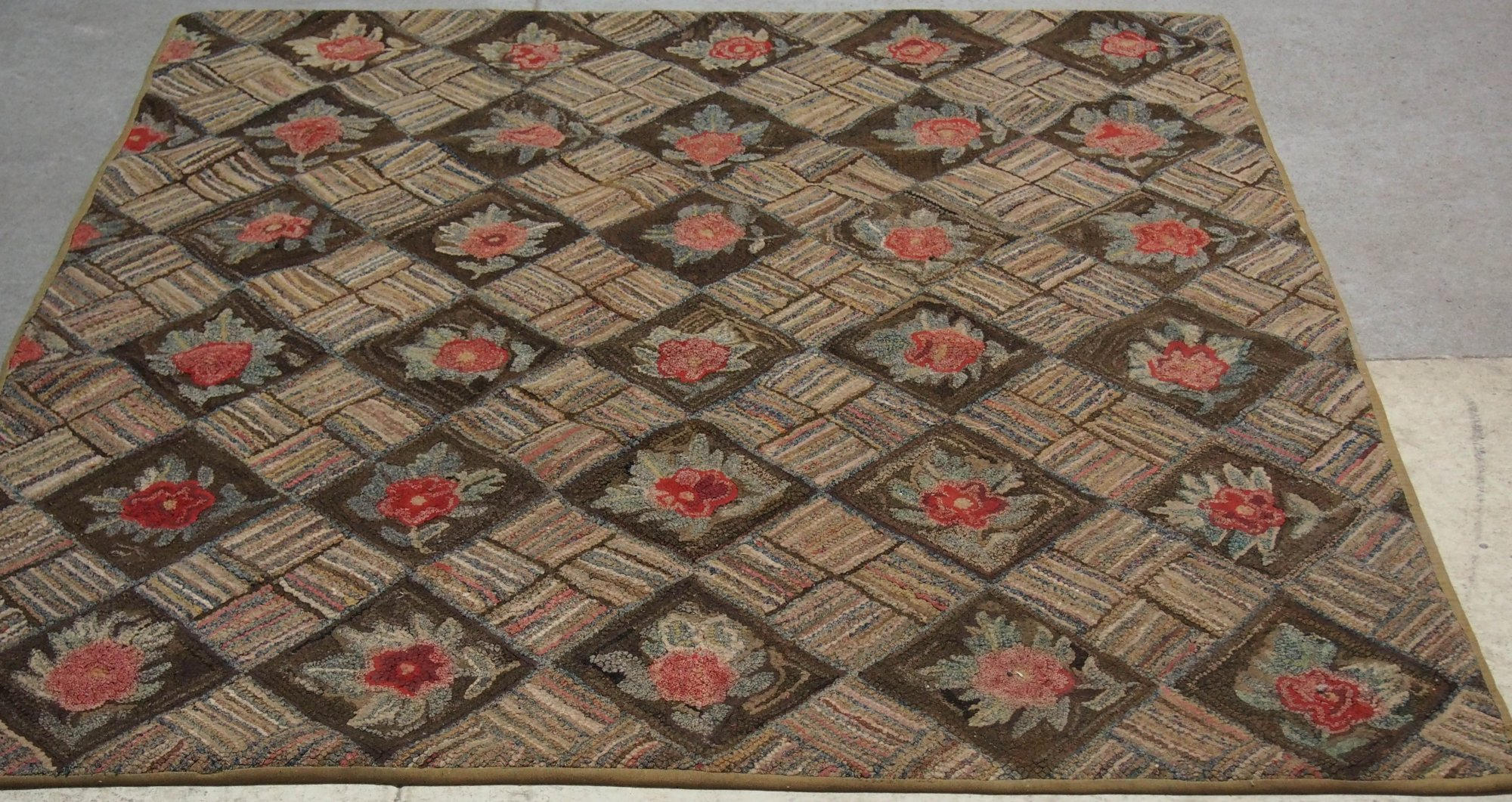 4 Block Diamonds And Roses Antique Hooked Rug