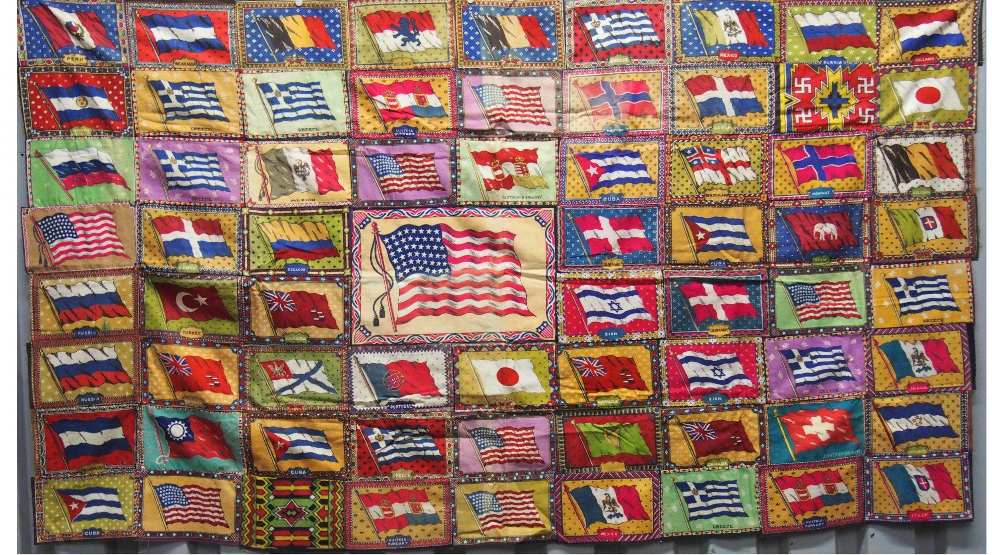 TOBACCO FLANNELS INTERNATIONAL FLAGS ANTIQUE PIECED QUILT