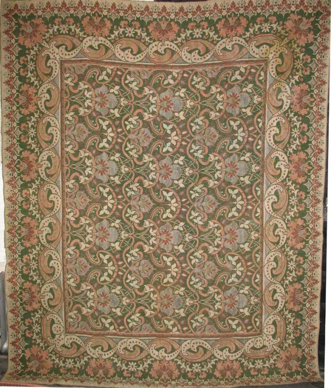 IN-GRAIN ROOM SIZE WILLIAM MORRIS TYPE ANTIQUE INGRAIN CARPET