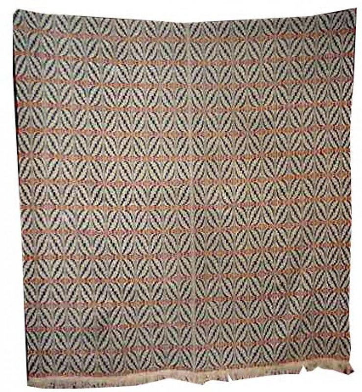 OVERSHOT CHEVRON WEAVE ANTIQUE COVERLET red, white, blue