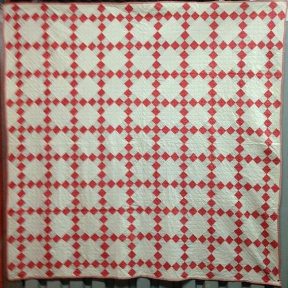 NINE PATCH ON POINT ANTIQUE QUILT
