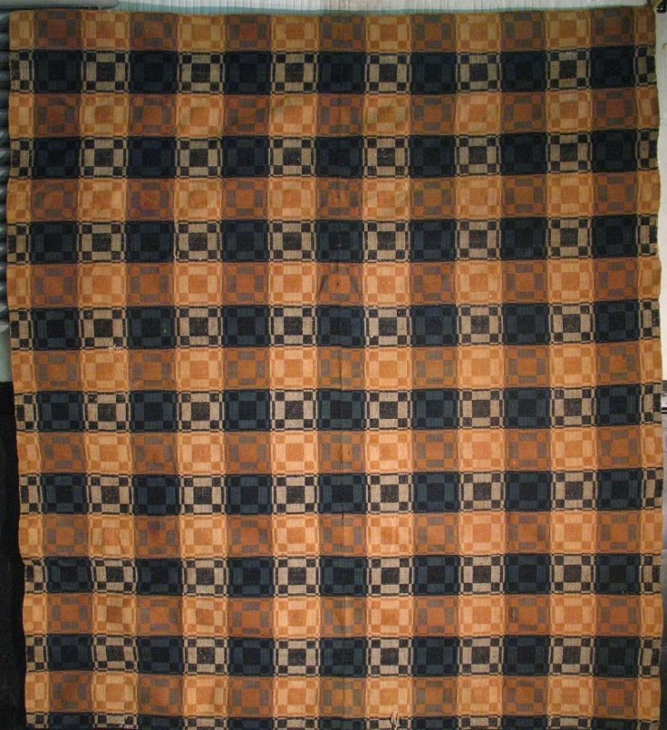 INDIGO OCHRE NINE BLOCK LARGE SCALE PLAID OVERSHOT ANTIQUE COVERLET