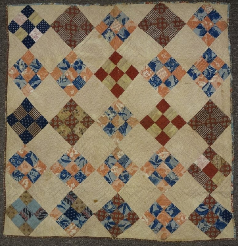 NINE PATCH ON POINT EARLY ANTIQUE CRIB QUILT