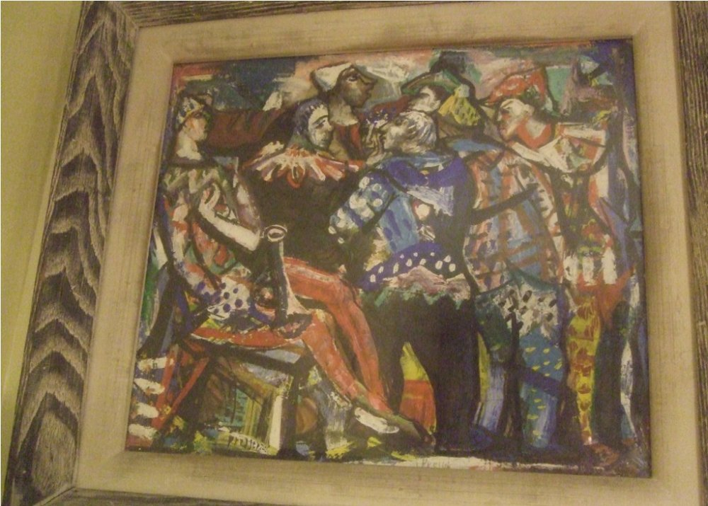 CLOWNS ANTIQUE PAINTING