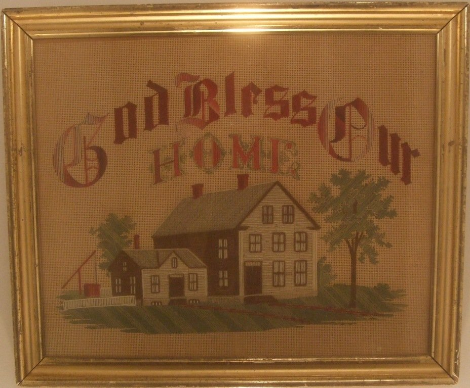 ANTIQUE MOTTO 'GOD BLESS OUR HOME'