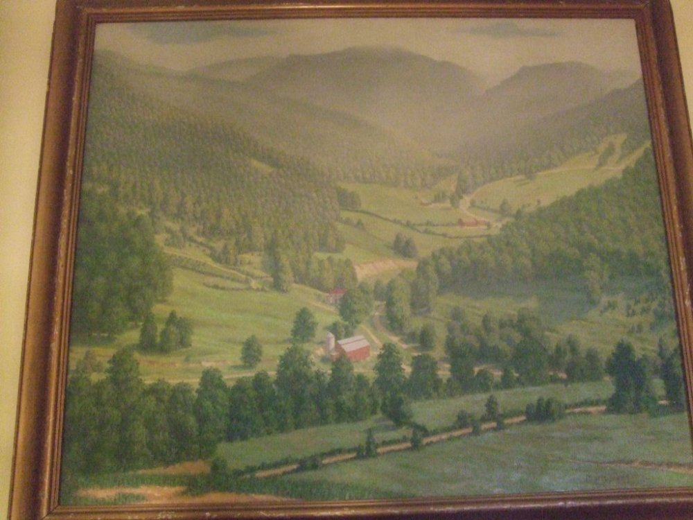 ANTIQUE PAINTING OF A FARMSTEAD AND MOUNTAINSIDE