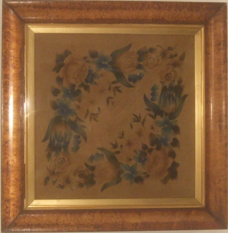 THEOREM ANTIQUE PAINTINGS ON VELVET - A PAIR OF BIRDS AND FLOWERS