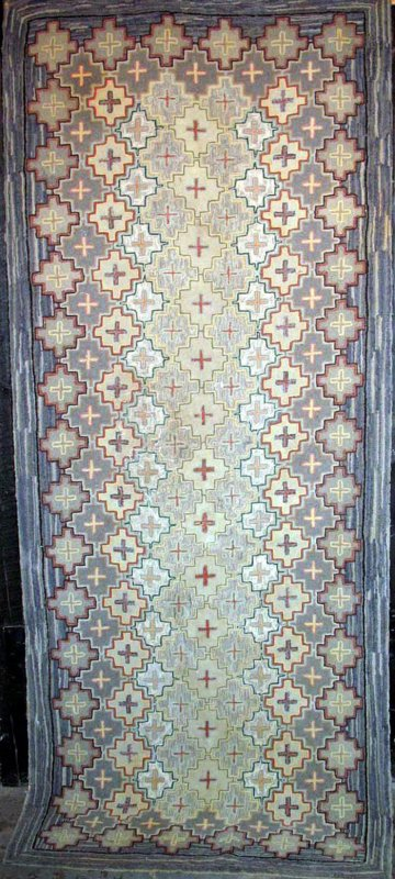 MINI BLANDFORD CROSSES ANTIQUE HOOKED RUG soft brown.blue palette