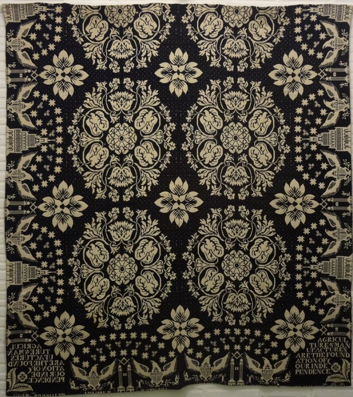 JAMES ALEXANDER 'AGRICULTURE AND MANUFACTURES...' ANTIQUE JACQUARD COVERLET