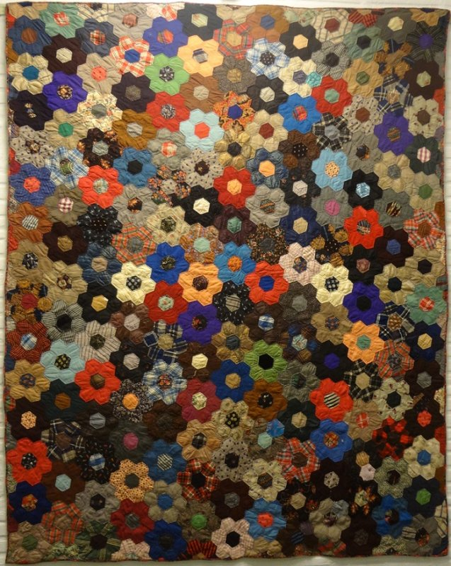 COLORFUL WOOL CHALLIS ANTIQUE QUILT : honeycomb quilt - Adamdwight.com