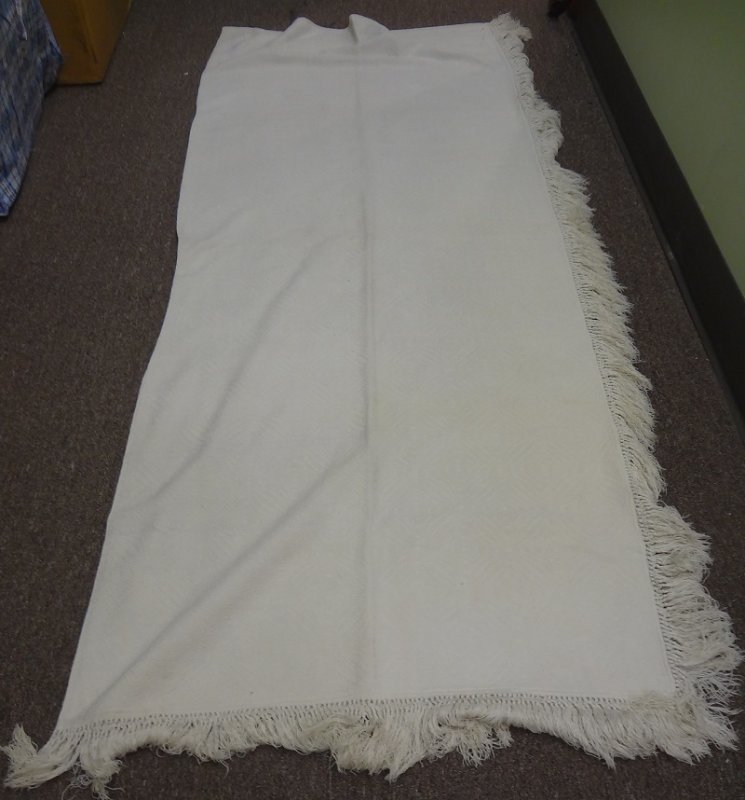 OVERSHOT ALL WHITE COTTON ANTIQUE COVERLET