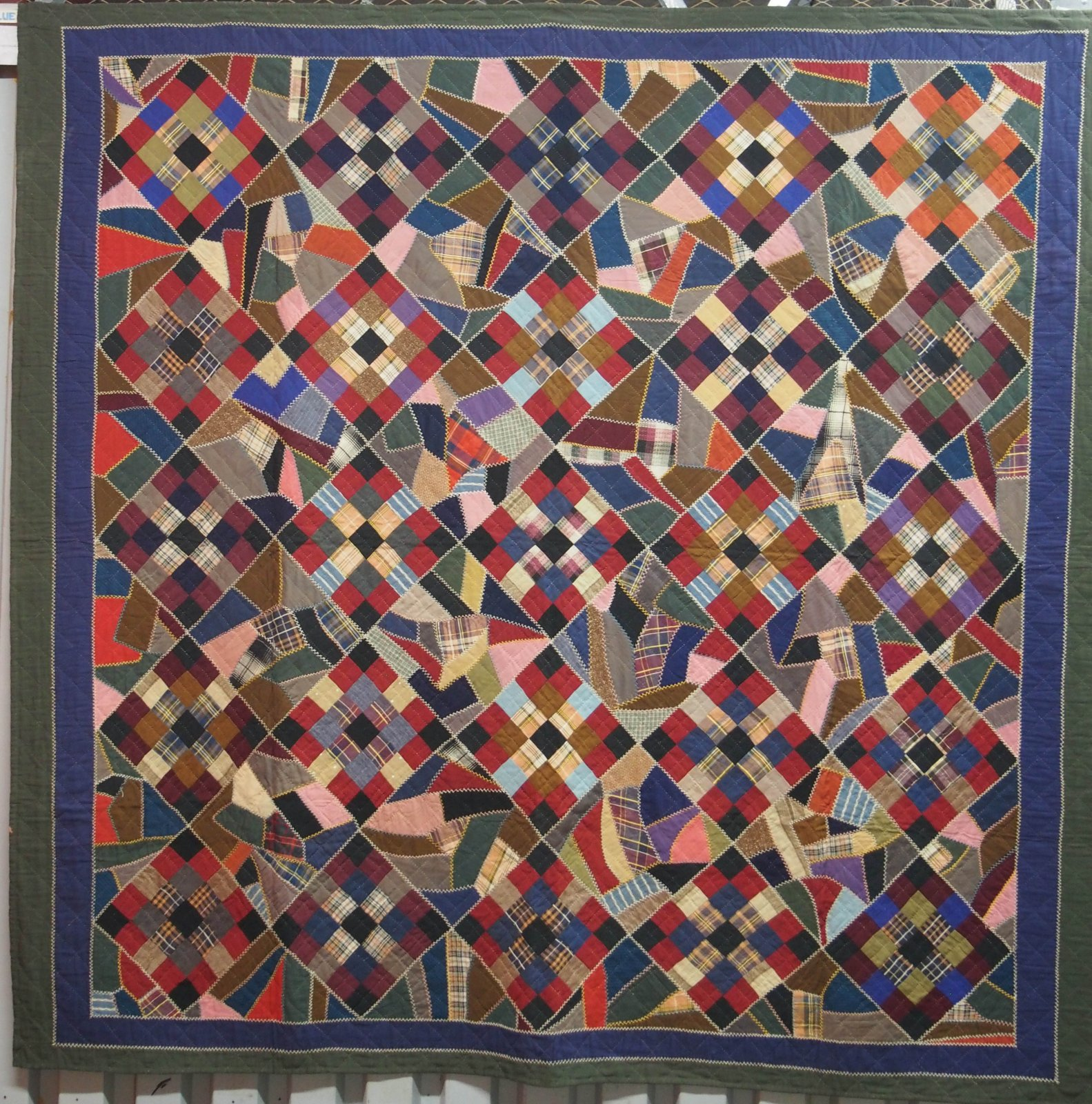CRAZY AND NINE PATCH VARIATION ANTIQUE WOOL QUILT