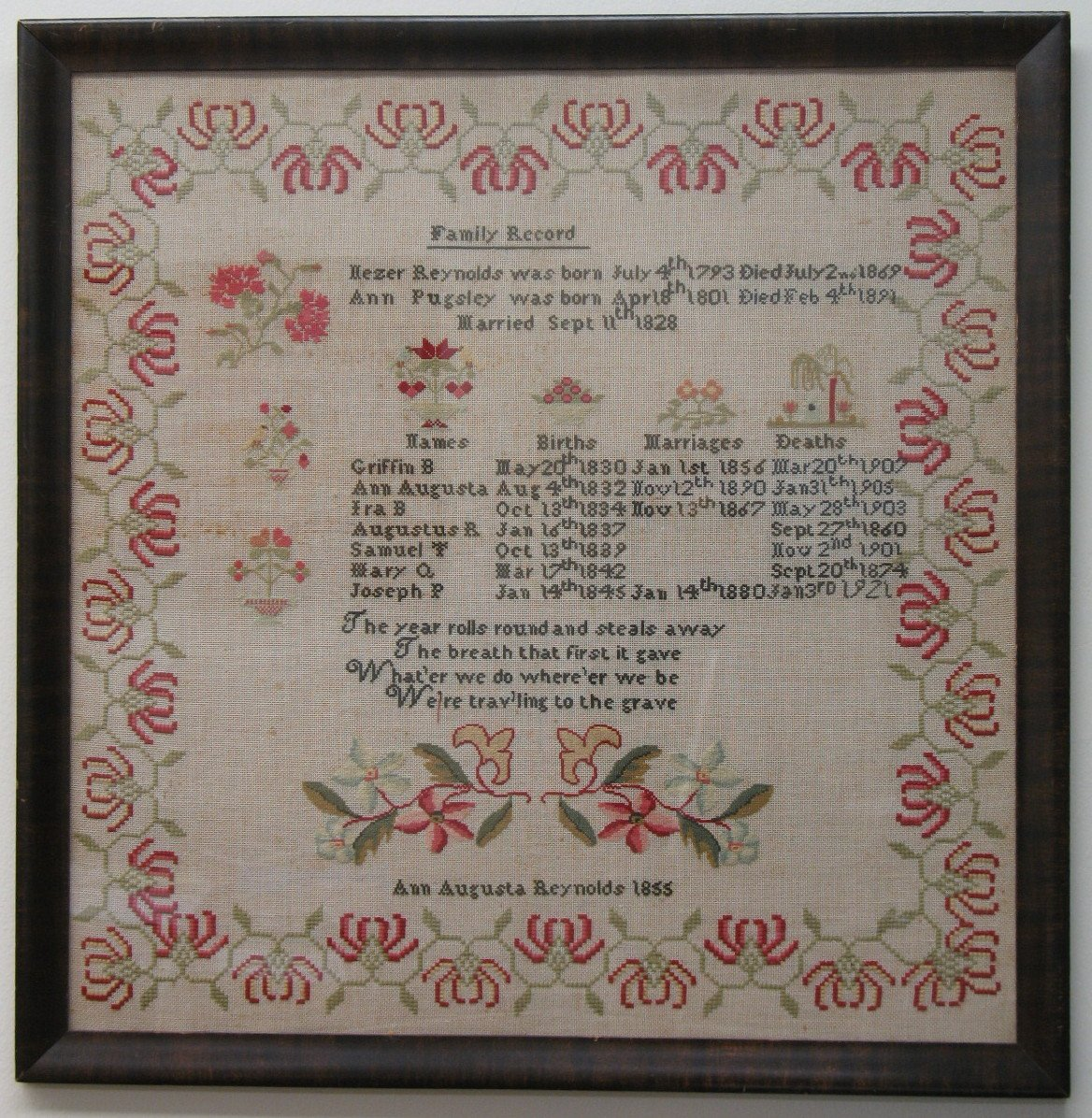 ANN AUGUSTA REYNOLDS 1855 ANTIQUE FAMILY RECORD VERSE SAMPLER