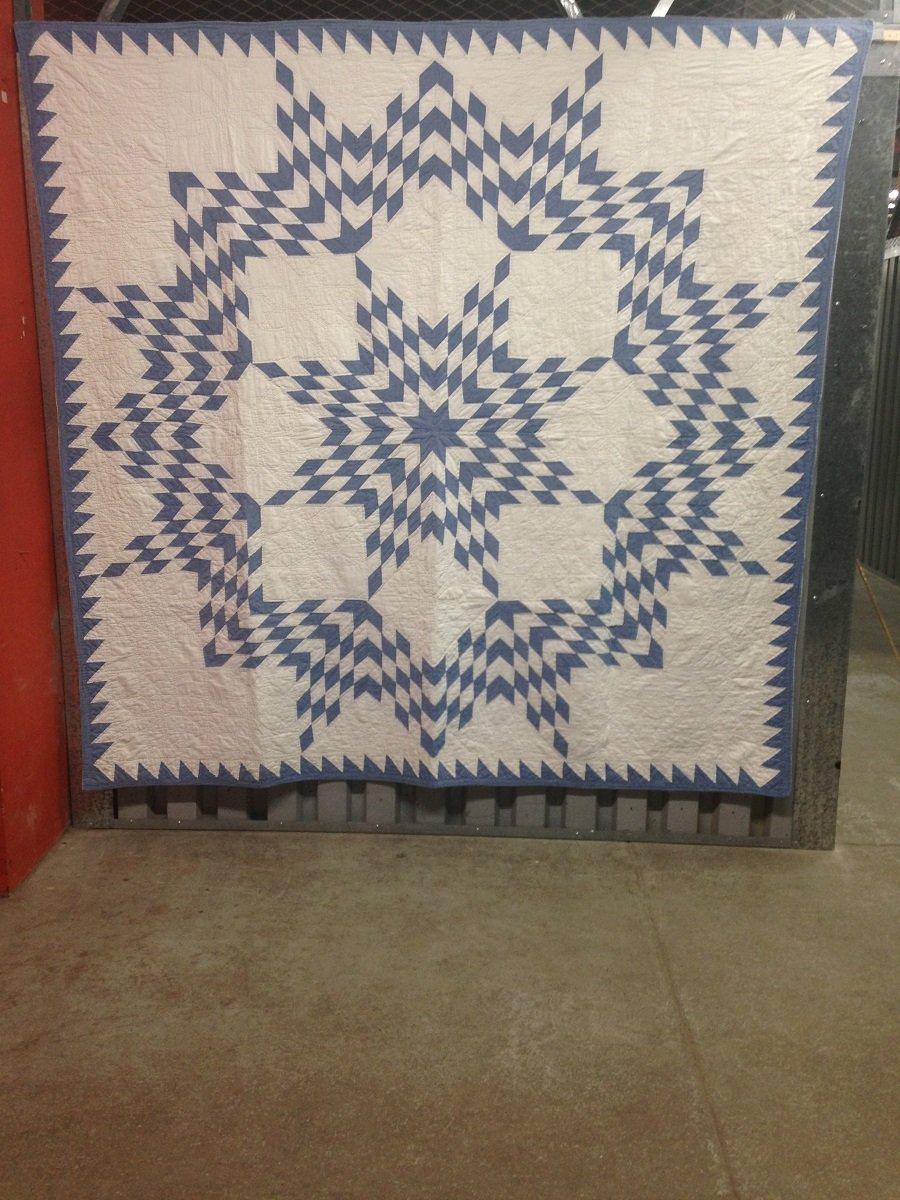 Broken Star Antique Quilt Blue And White