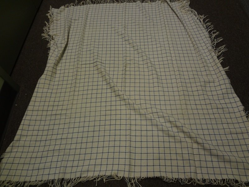 WINDOWPANE CHECK ANTIQUE SHAWL, blue on white, cotton