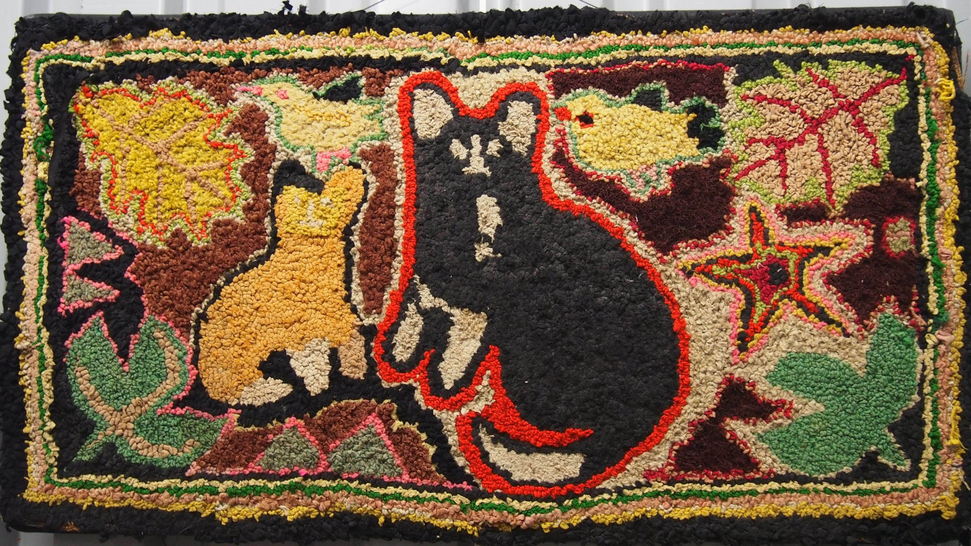 CATS VINTAGE HOOKED RUG