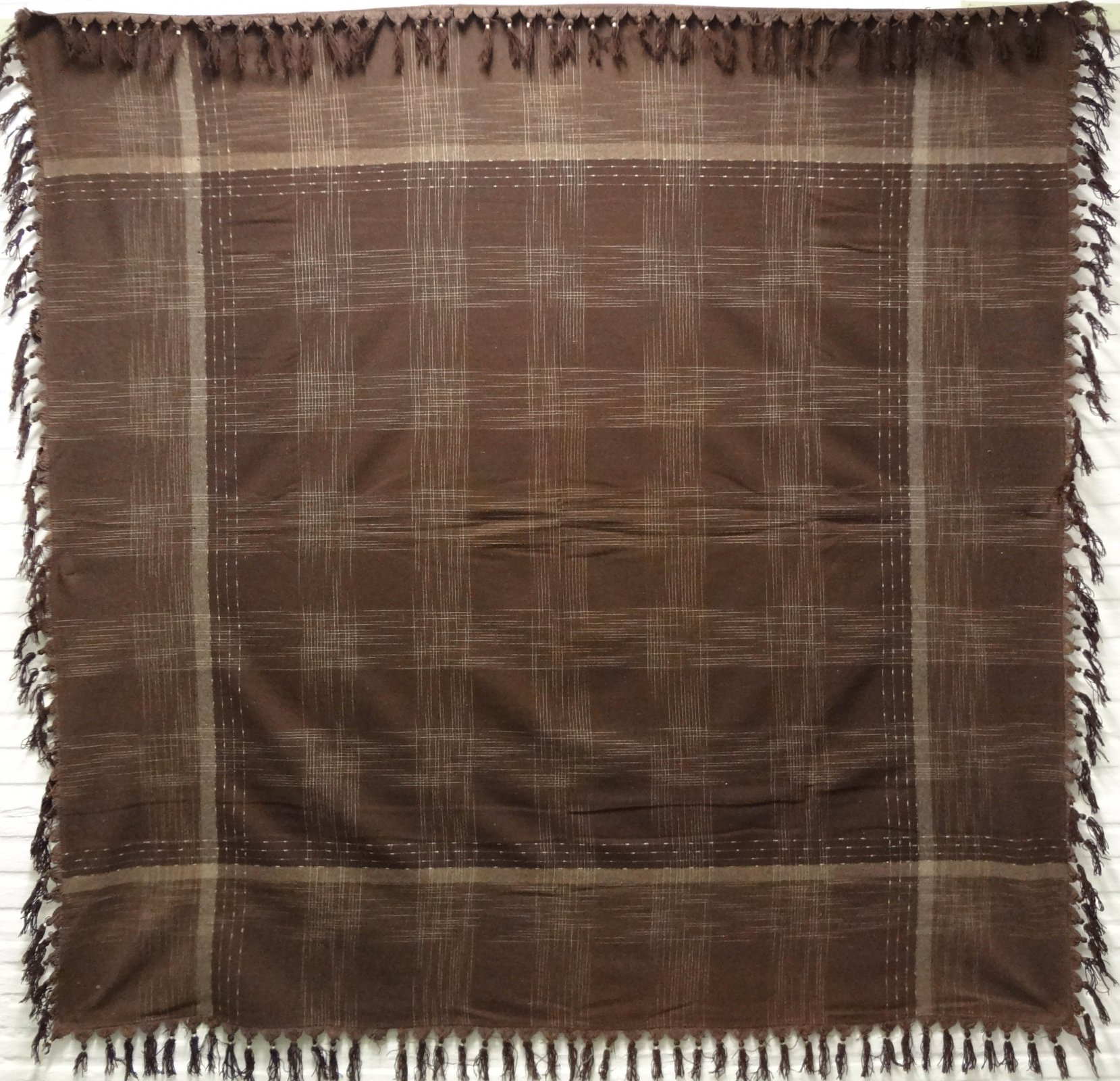 BUGGY SHAWL brown with white plaid pattern